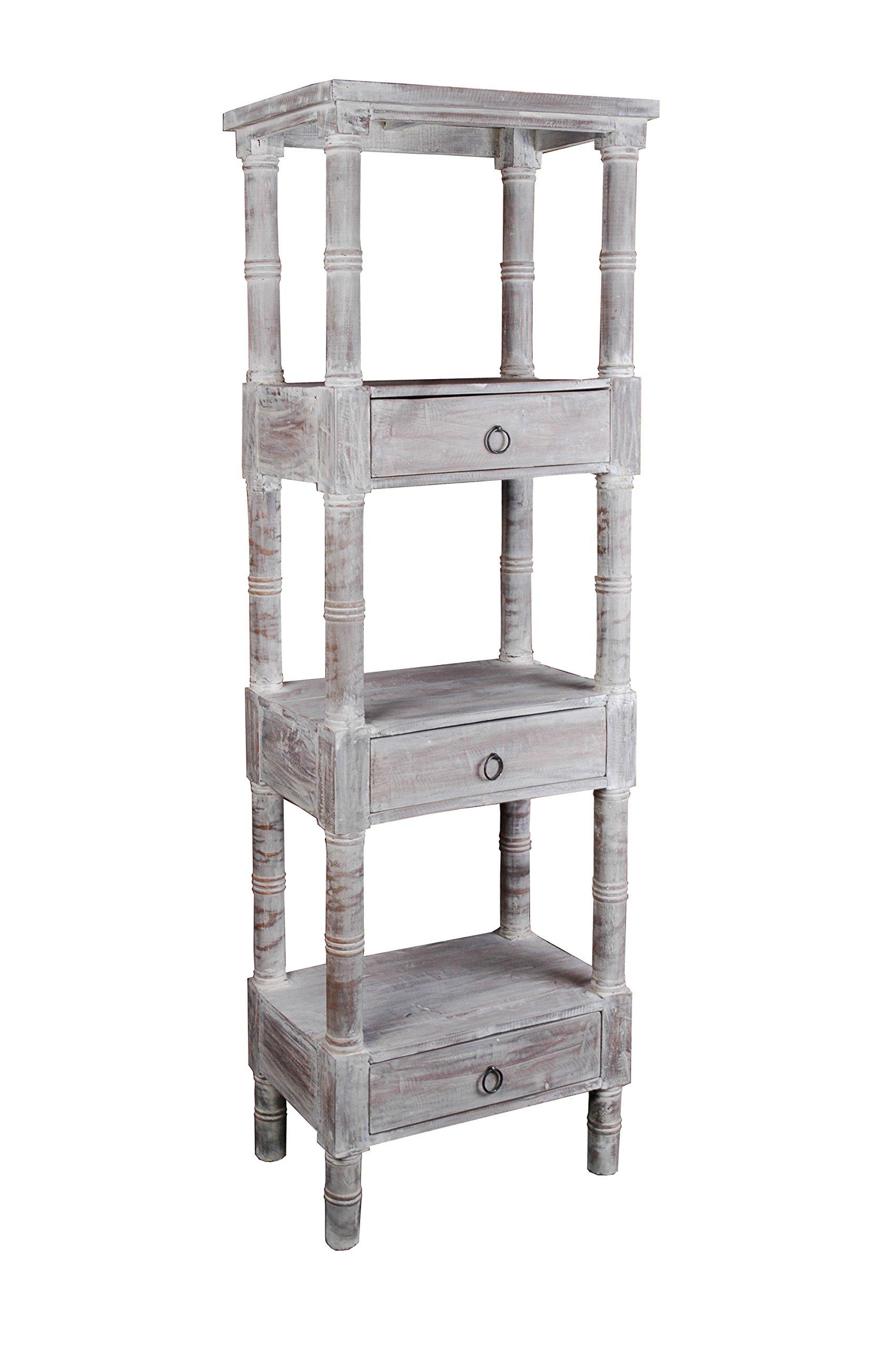 Sunset Trading CC-RAK035S-LW Shabby Chic Cottage Tall Shelf, Three Drawer, Gray Wash
