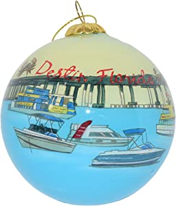 Hand Painted Glass Christmas Ornament - Boats Near Pier - Destin Florida