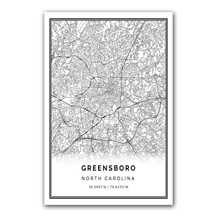 Greensboro map poster print modern black and white wall art scandinavian home decor