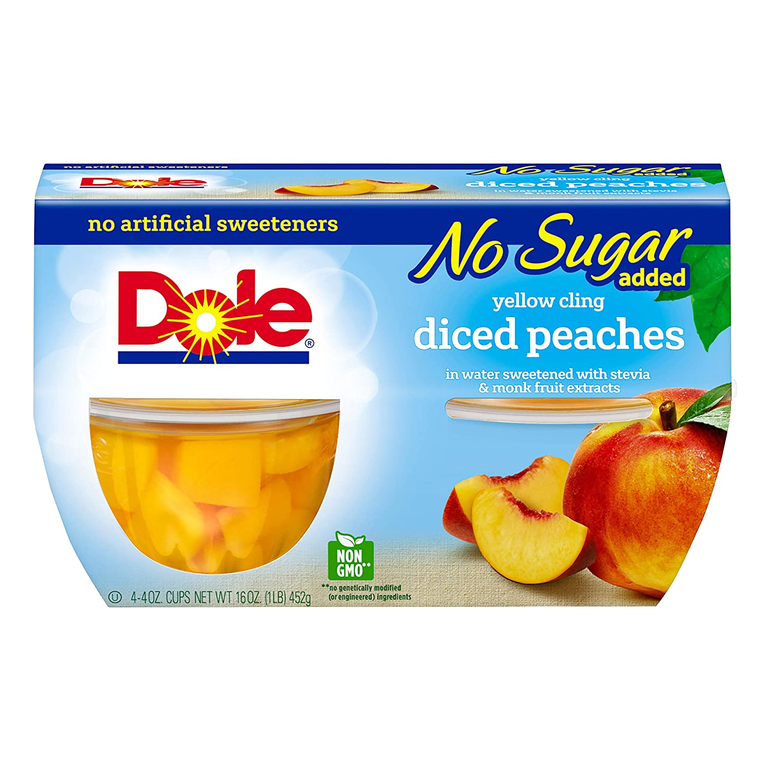 Dole, Diced Peaches No Sugar Added, 16 Oz (pack of 4)