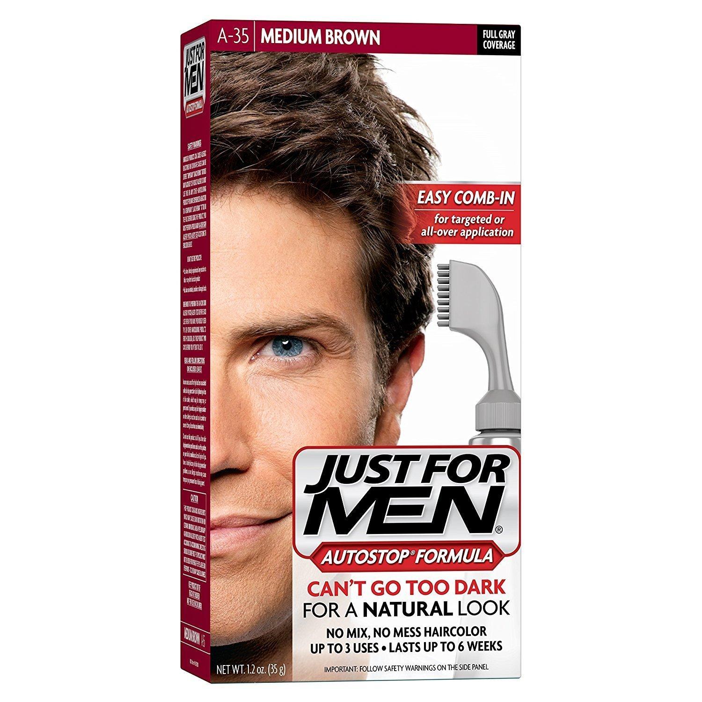 Just for Men Autostop Men's Hair Color, Medium Brown, 3 Count