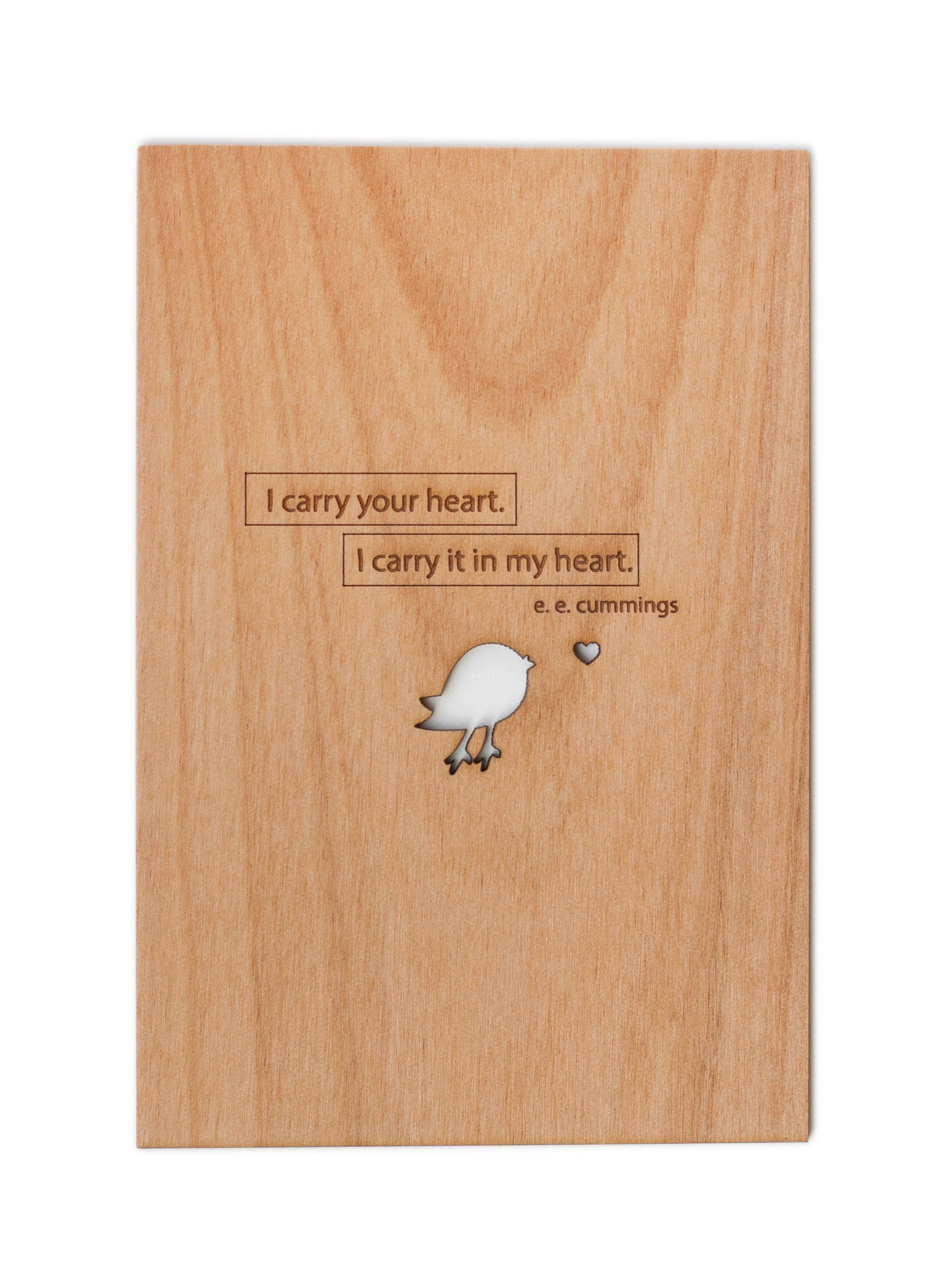 I Carry Your Heart E.E. Cummings Wood Card (Love / 5 Year Anniversary / Boyfriend or Girlfriend / Valentine's Day)