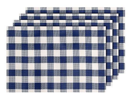 Lot De 4 Sets De Table Carreaux Bleu Blanc Ts 124 Decoration Sympa