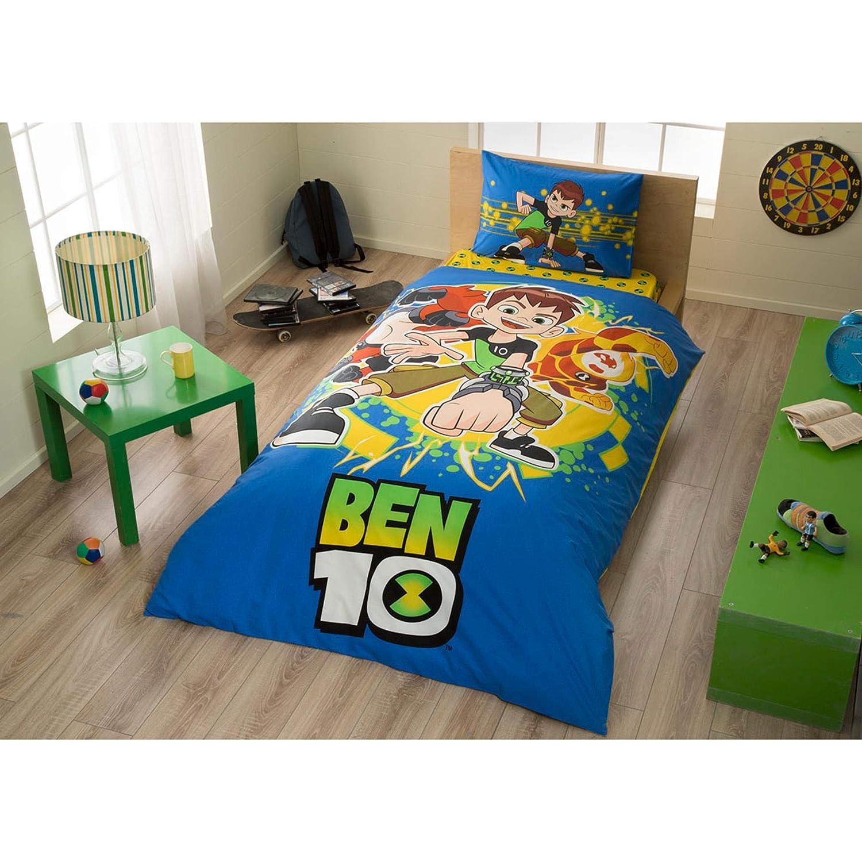 Original Lizenziert Bettwäsche-Set, Cartoon-Netzwerk-Design Ben 10, Single Größe, 100% Baumwolle, 3-Teilig (Bettbezug + Spannbettlaken + Kissenbezug)