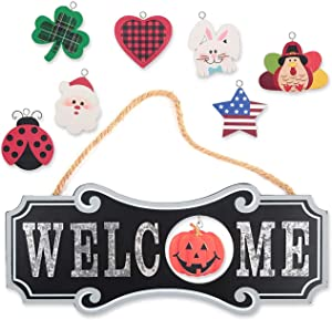 Interchangeable Welcome Sign Front Door Decor - Wooden Hanging Plaque Home Decoration for Christmas Valentine Thanksgiving Spring Summer Autumn America Holiday (Black, 8pcs)