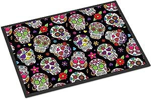 """Caroline's Treasures Day of The Dead Black Doormat 18"""" H x 27"""" W Multicolor, Multicolor, 18 x 27"""