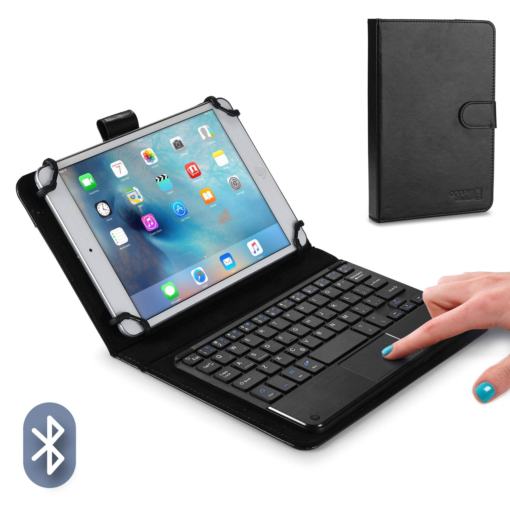 Cooper TOUCHPAD Executive Keyboard case for 7'' - 8'' inch Tablets | 2-in-1 Bluetooth Wireless Keyboard with Touchpad & Leather Folio Cover | Touchpad Mouse, Stand, 100HR Battery, 14 Hotkeys (Black)