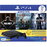 Sony PlayStation 4 500GB Console (Black) with 3 Month PSN Subscription and 3 Games (Call Of Duty: Black Ops 3, God Of War & Uncharted 4) Bundle