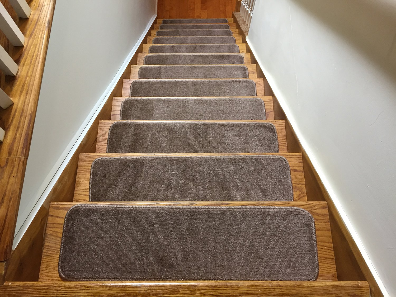 Euro Collection Stair Treads Collection Indoor Skid Slip Resistant Carpet Stair Tread 8 ½ inch x 30 inch (Set of 13, Cappuccino Brown) by RugStylesOnline