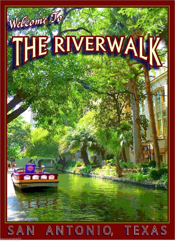 MAGNET The Riverwalk San Antonio Texas United States Travel Art Advertisement Magnet