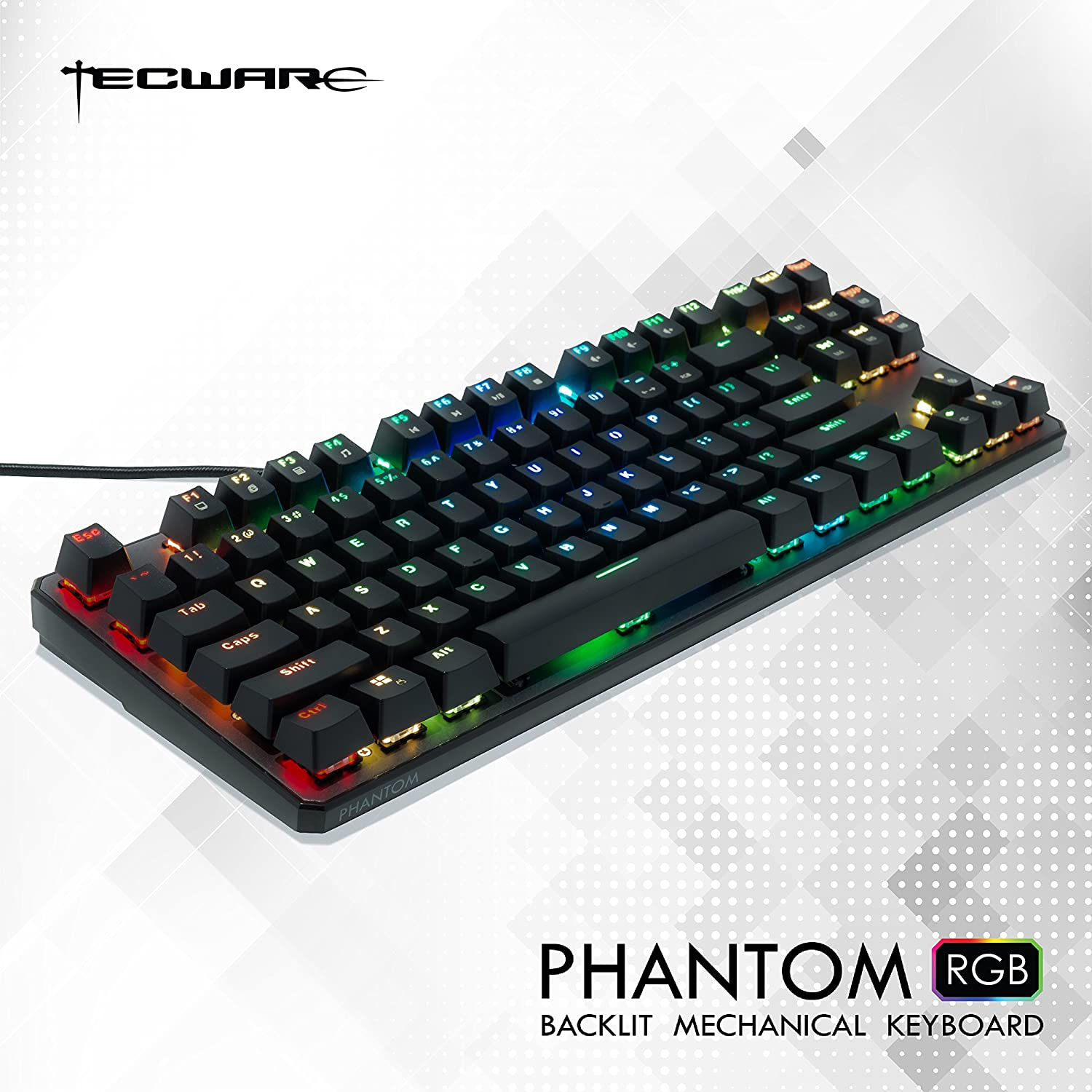 TECWARE Phantom 87 Key Mechanical Keyboard, RGB led, Outemu RED Switch (US  Layout)
