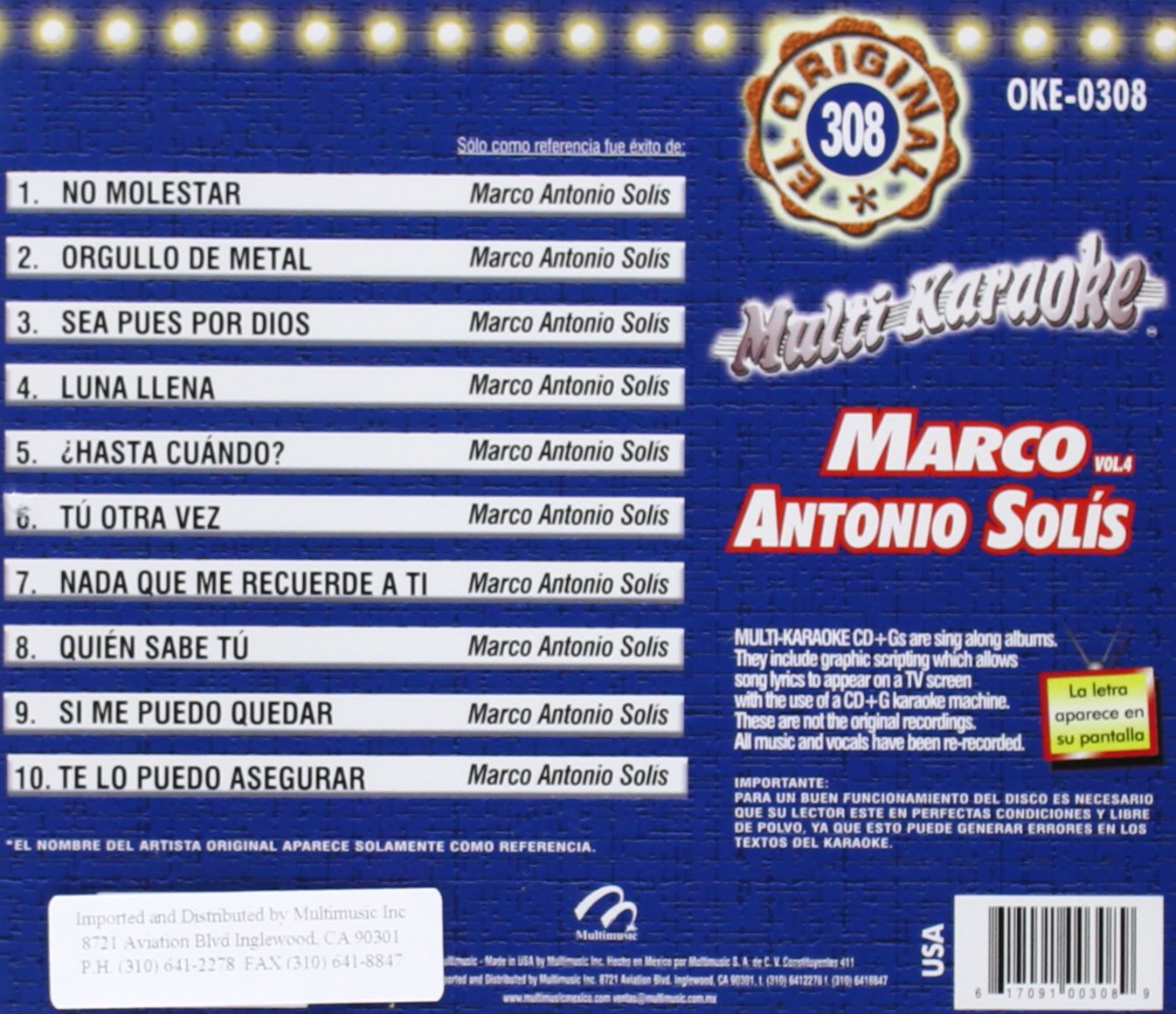 Marco Antonio Solis - Karaoke: Marco Antonio Solis 4 - Amazon.com Music