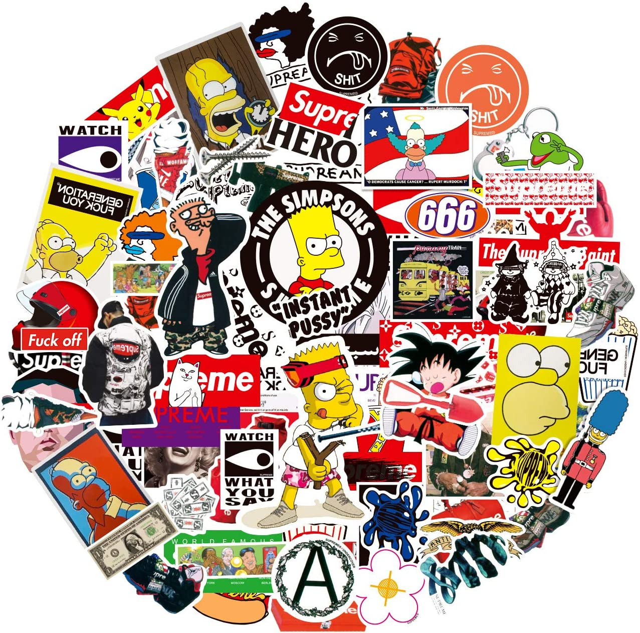Pauplian 100PCS The Simpsons Stickers Supreme Sticker Cool Vinyl Sticker Packs Sticker Decals Waterproof Stickers for Hydro Flask Laptop Car