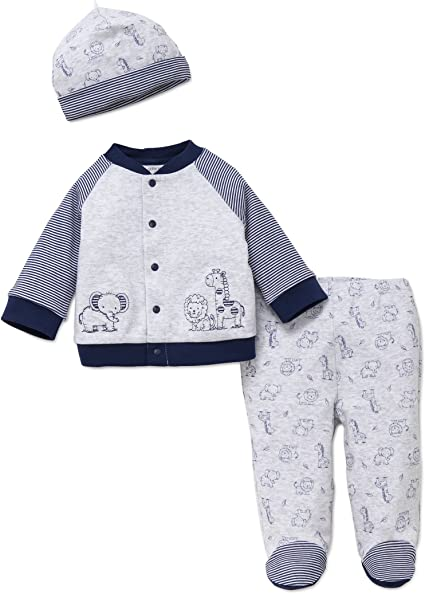3PC Baby Boy White//Blue Kids Toddler Top+Trousers+Hat Set Clothes Outfit 3-6-9M