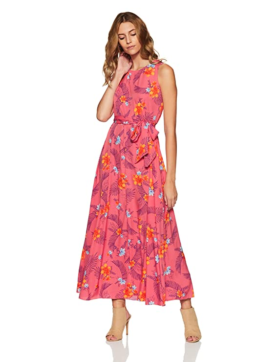 Styleville.in Women's Skater Maxi Dress (SDRF501276_Multicolor_M)