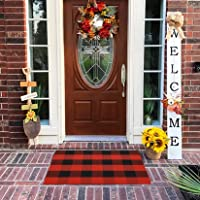 MUBIN Buffalo Plaid Door Mat/Rug Black/Red Check Rugs 23.5 x 35.4 Inches Reversible Washable Cotton Hand-Woven Outdoor…