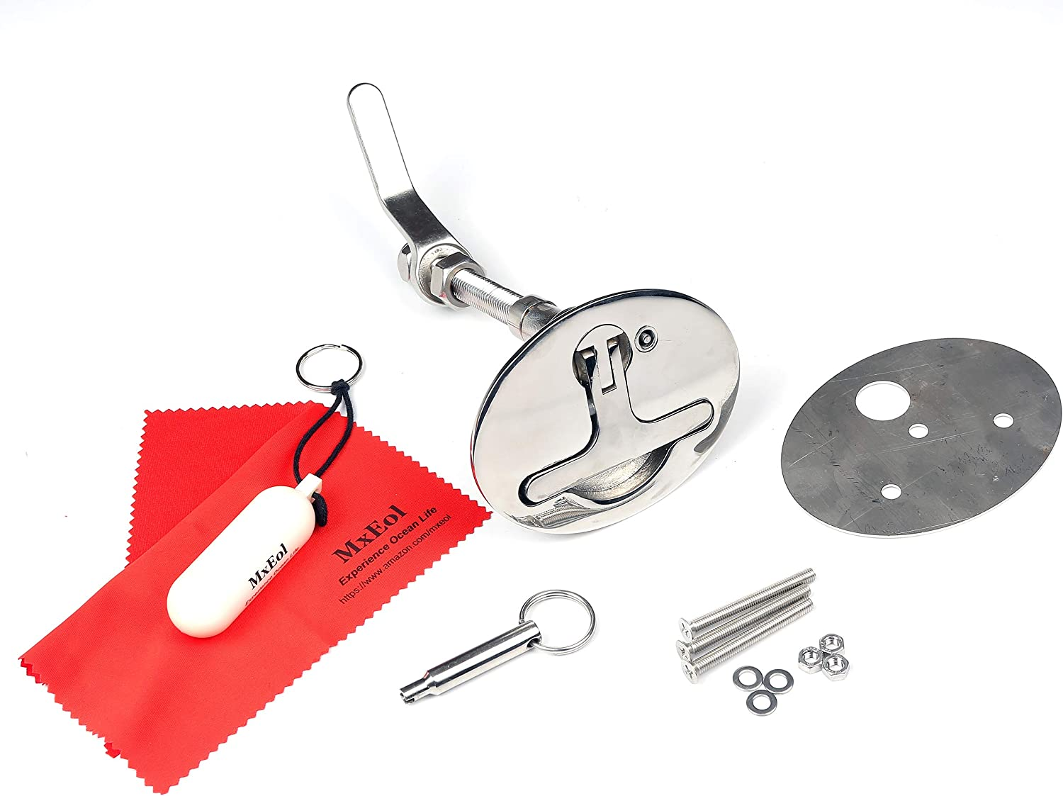 Mxeol Boat Cam Latch Oldschool T-Handle Locking Latch Marine Stainless Steel W/Back Plate, Key & Fasteners