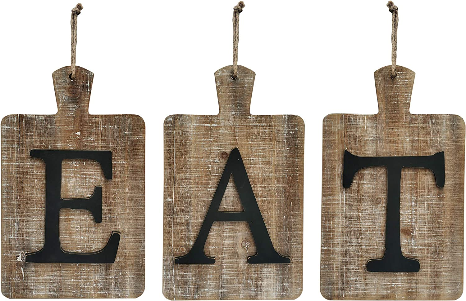 "NITYNP EAT Sign Farmhouse Kitchen Decorative,Hanging Rustic Cutout Wooden EAT letters 24""x13.4"""
