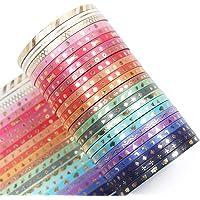YUBBAEX Skinny Washi Tape Set Gold Foil Print Decorative Tapes for Arts, DIY Crafts, Bullet Journals, Planners…