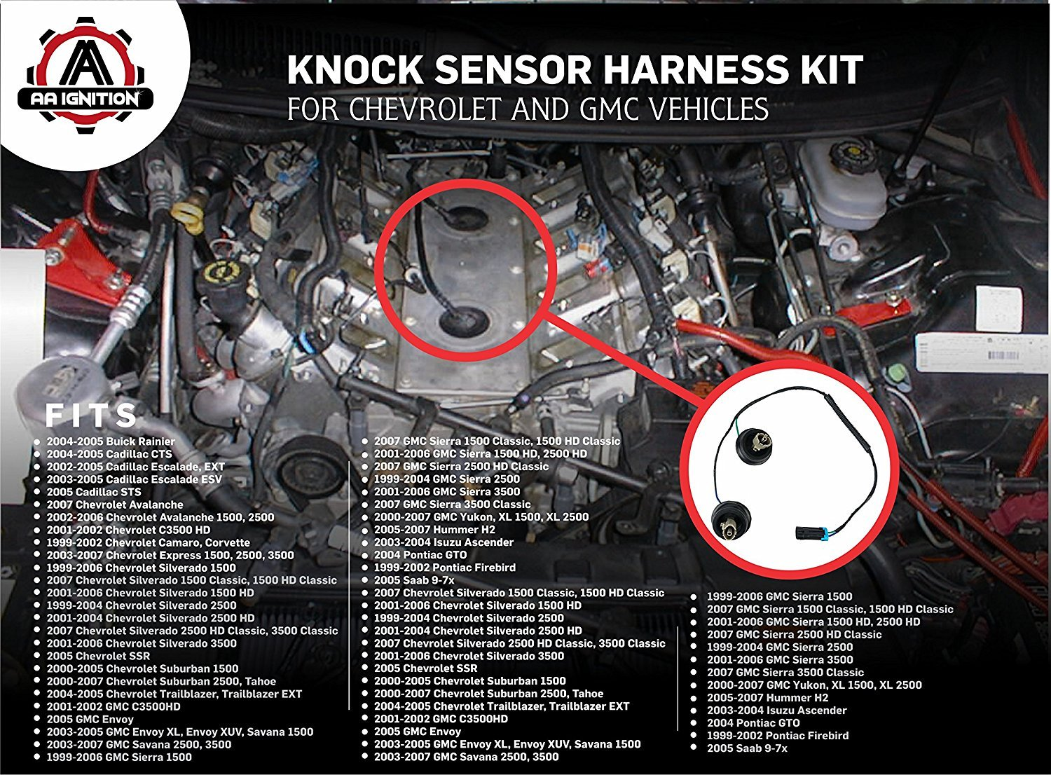 Knock Sensor Wire Harness Kit Replaces 12601822 917 033 Wiring Diagram Also Chevrolet Suburban Car On For Dual Fits Chevy Silverado Avalanche Tahoe Gmc Sierra Yukon