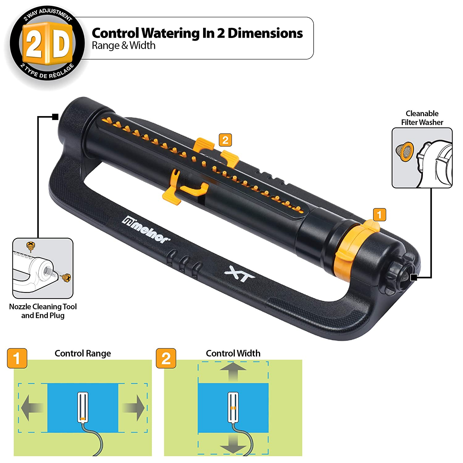 Melnor XT Turbo Oscillating Sprinkler with TwinTouch Width Control /& Flow Control waters up to 4,200 sq.ft.
