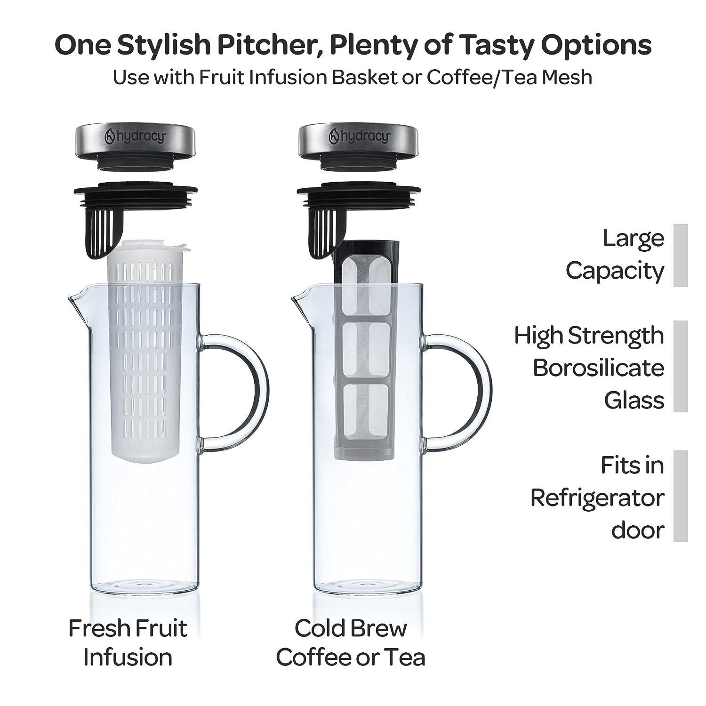 Hydracy Cold Brew Cafeti/ère pour Caf/é//Th/é Glac/é 2 Tubes infuseur Interchangeables Grand Carafe 1,5L /à Infusion de Fruits en Verre Premium et Acier INOX Cadeau id/éal pour la Maison et la Cuisine