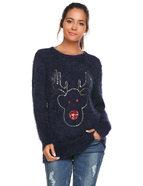 Meaneor Damen Winter Herbst Langä rmliger Pullover mit weitem Rundhals-Ausschnitt Lose Sweatshirt Langarm Oberteile Strickpullover Oversized