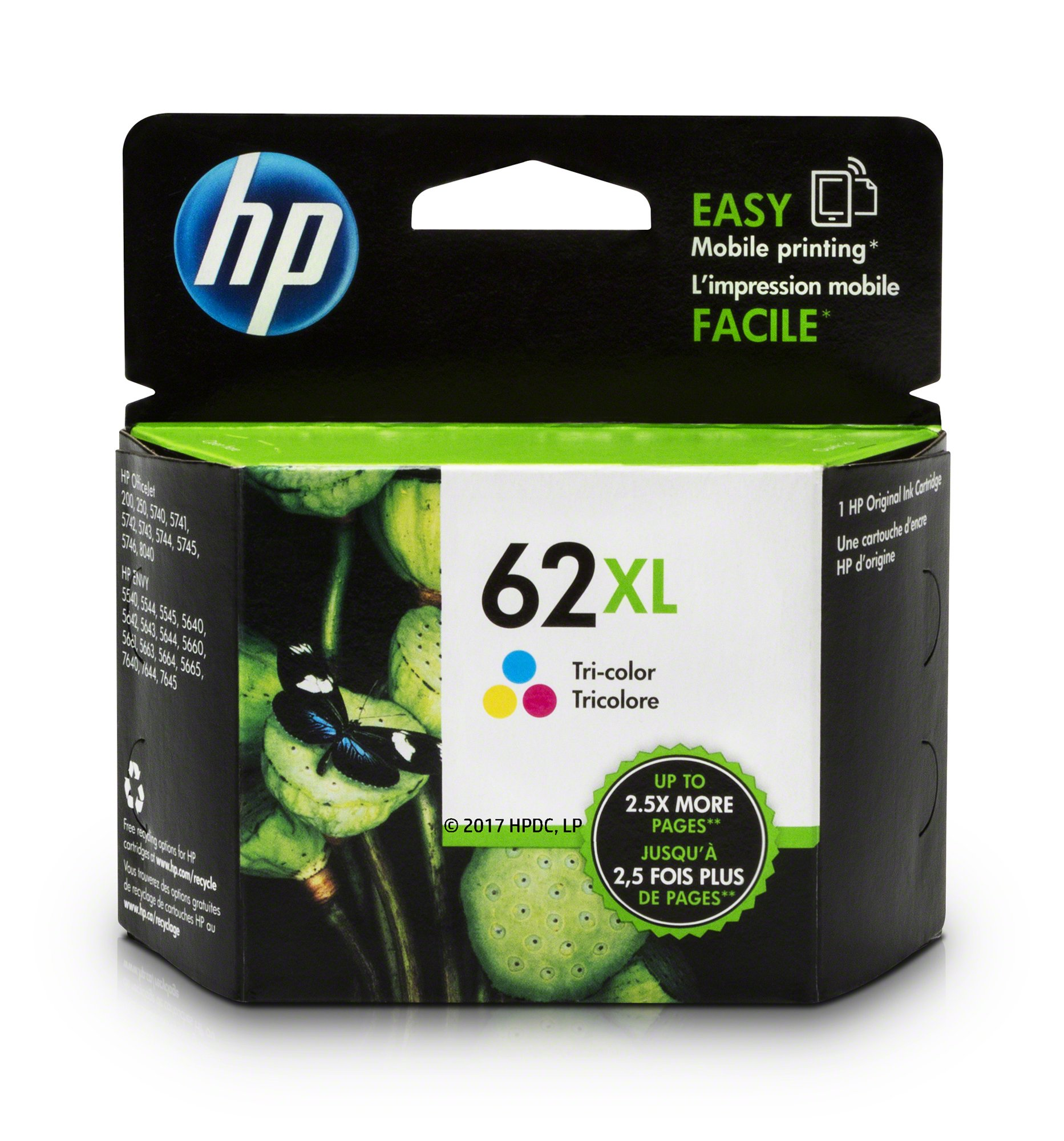HP 62XL Tri-color High Yield Original Ink Cartridge (C2P07AN) for HP ENVY 5540 5541 5542 5543 5544 5545 5547 5548 5549 5640 5642 5643 5644 5660 5661 5663 5664 5665 7640 7643 7644 7645 HP Officejet 200 250 258 5740 5741 5742 5743 5744 5745 5746 8040 252C M