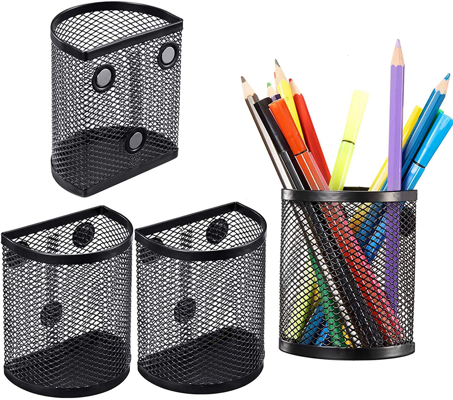 Eliseo Magnetic Pencil Holder Set of 4 Perfect Marker and Pen Organizer Set Holds Securely Your Whiteboard and Locker Accessories Mesh Storage Baskets with Magnets