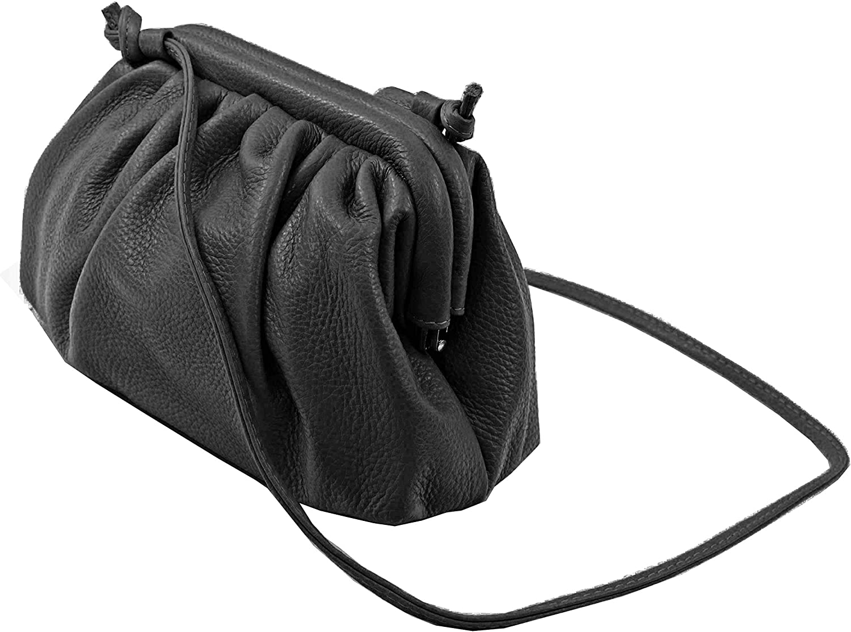 Echt Leder Handtasche Umhängetasche Bügeltasche Schultertasche in vielen Farben Schwarz