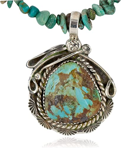 $430Tag Silver Certified Navajo Natural Turquoise Spiny Native Necklace 24415-4-25289 Made by Loma Siiva
