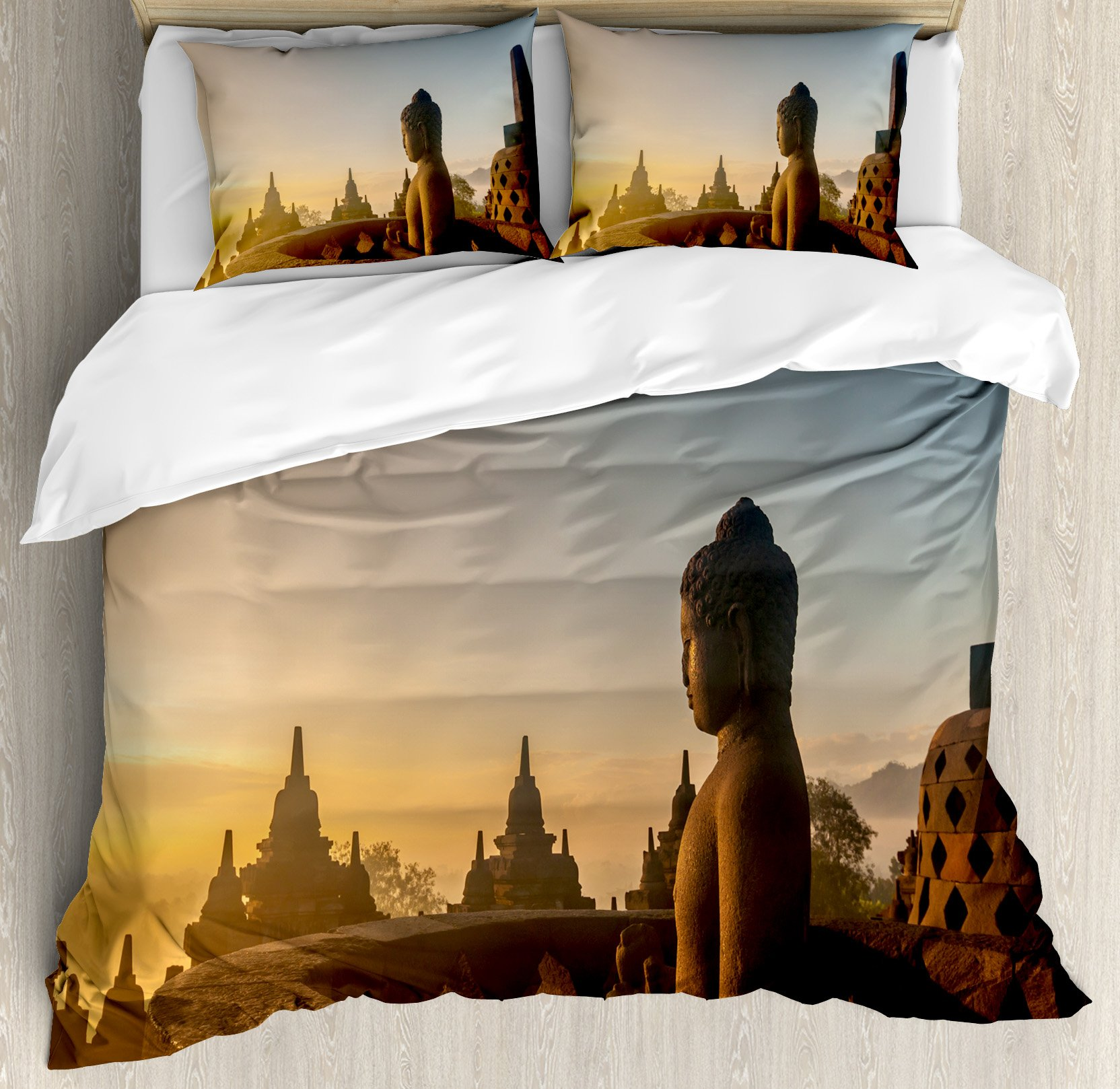 Asian Decor Duvet Cover Set by Ambesonne, Religious Temple in Indian Sunrise Ancient Architecture Mystic Style Ceremony Picture Wall Art, 3 Piece Bedding Set with Pillow Shams, Queen / Full, Multi by Ambesonne