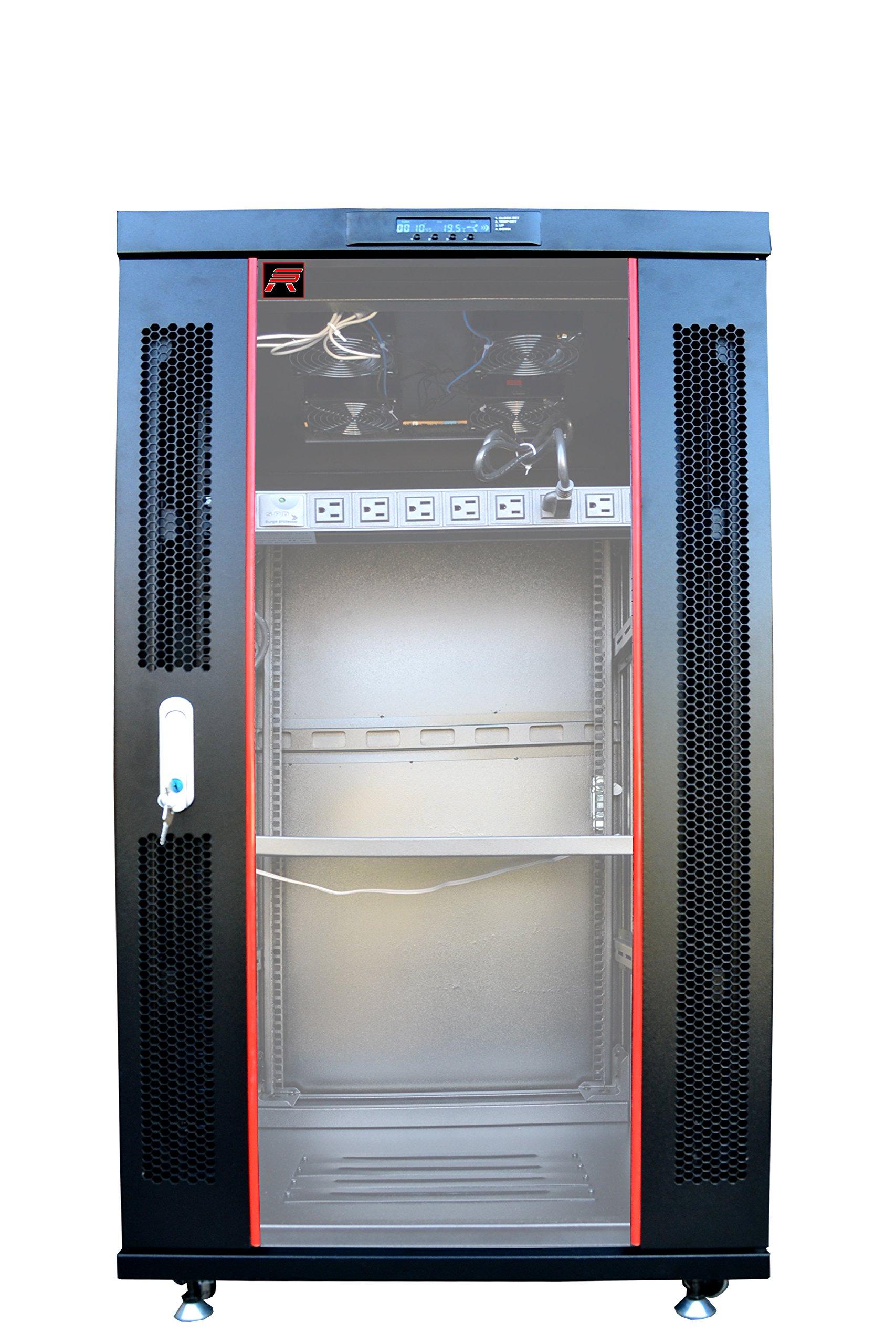 Sysracks 18U 35'' Deep Server IT Telecommunication Network Data Rack Cabinet Enclosure. Fully Lockable, Accessories Included (Over $ 150 Value). LED Info Screen, Renew Ventilation System Design