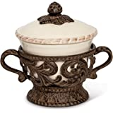 Cream Ceramic Bowl and Lid with Detailed Ornate Acanthus Leaf Motif Base