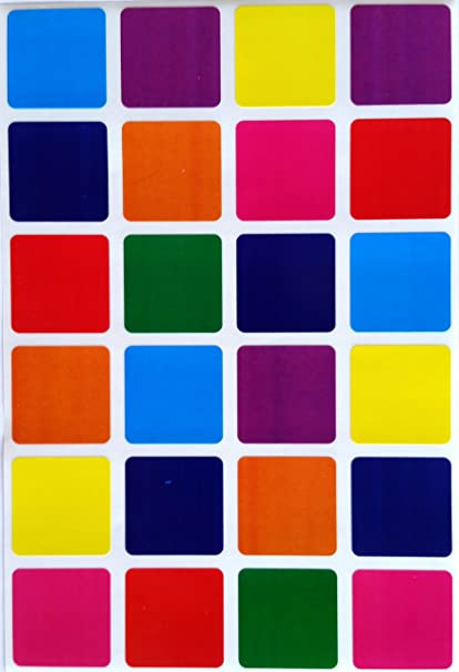 amazon com square color coding labels 1 by 1 inch assorted colors