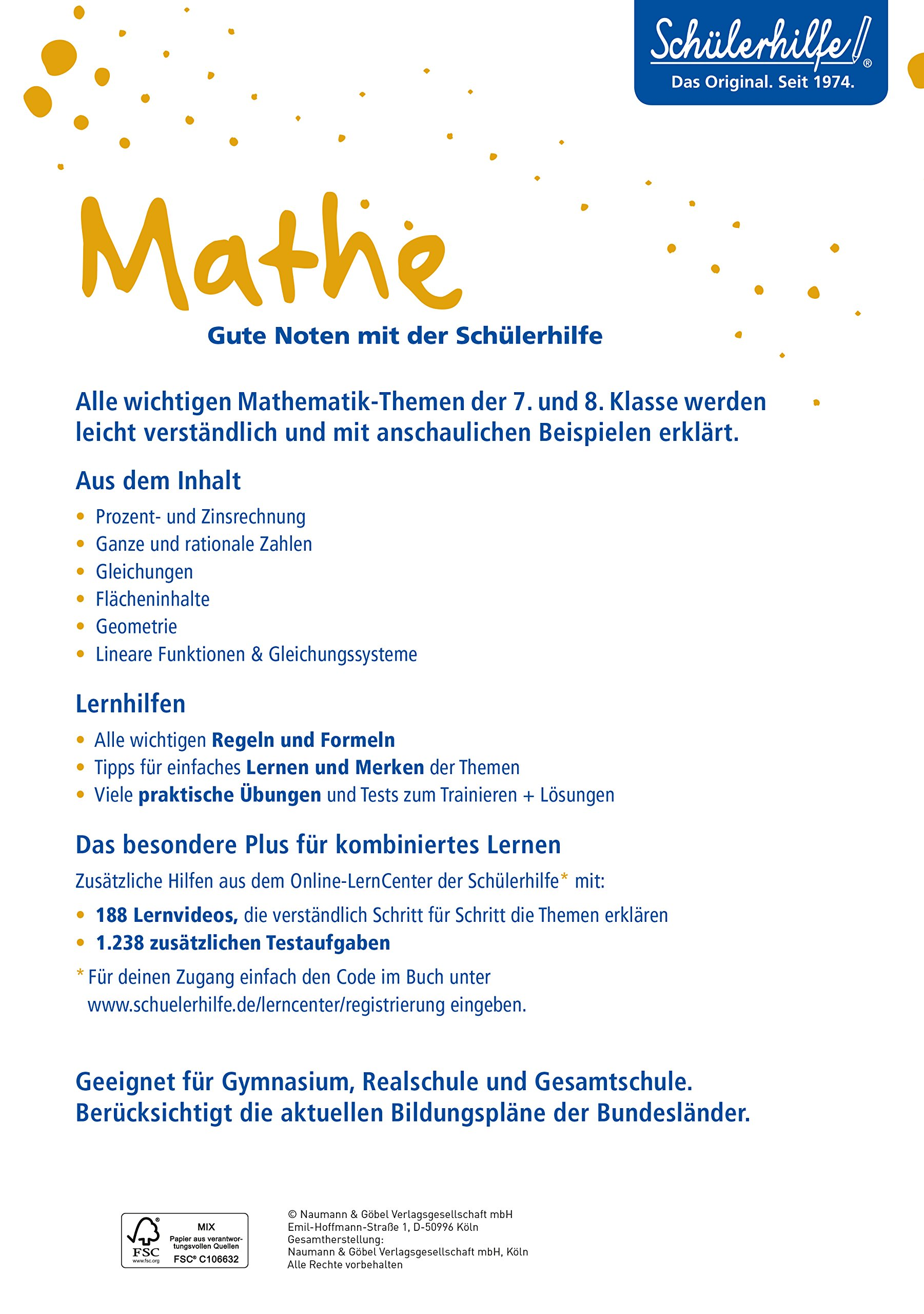 XXL-Lernbuch Mathe 7./8. Klasse: 9783625181484: Amazon.com: Books
