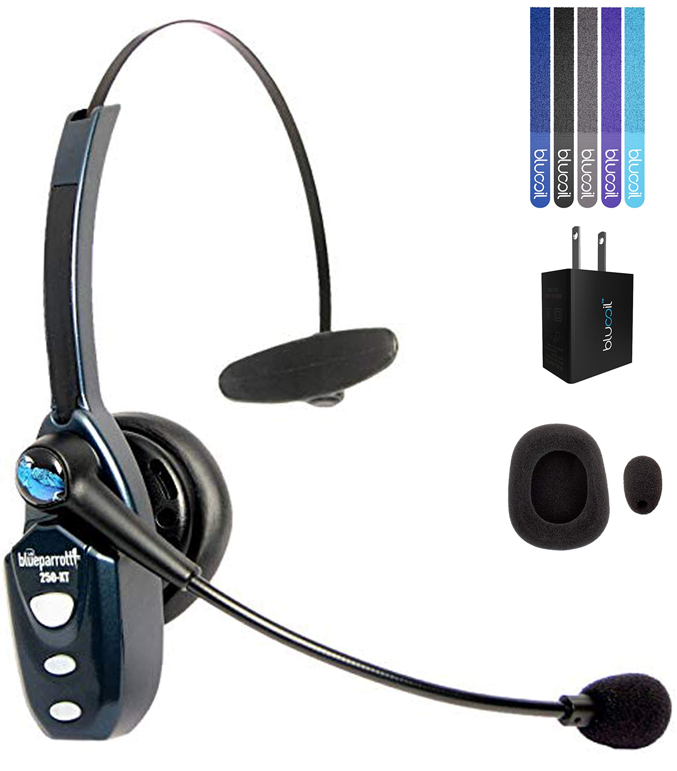 VXi BlueParrott B250-XT Bluetooth Headset with 85% Noise Cancellation Bundle with Blucoil USB Wall Adapter, and 5-Pack of Reusable Cable Ties by Blucoil