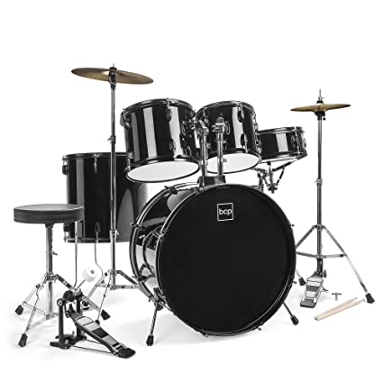 Best Choice Products 5-Piece Complete Full Size Adult Drum Set | Includes Cymbals, Stands, Stool, Pedal, Drumsticks | Black best drum set