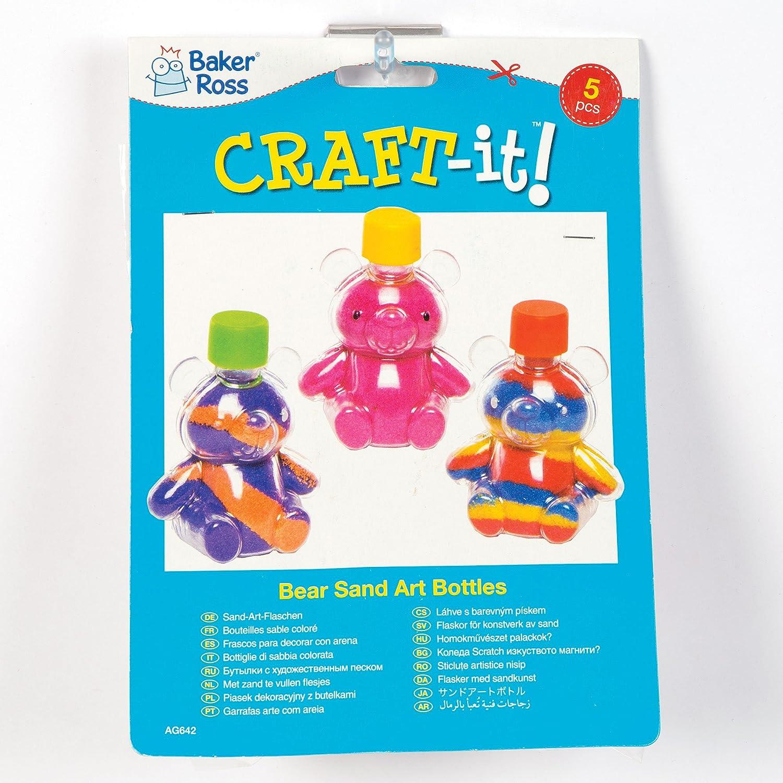 Botellas de plástico en Forma de Ositos para Decorar con Arena de Colores Que los Niños Pueden llenar y exhibir como Manualidades veraniegas (Pack de 5).