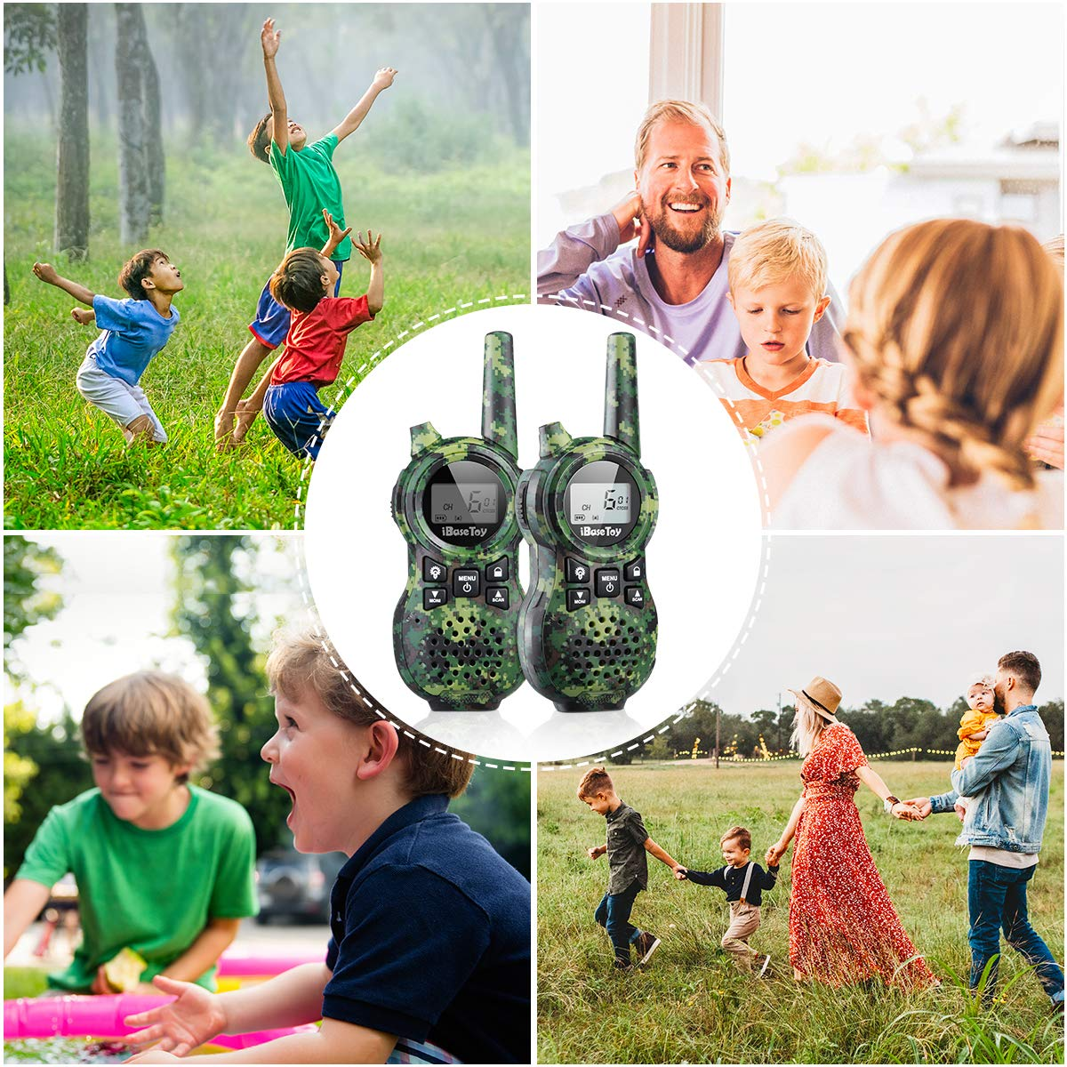 iBaseToy Walkie Talkies for Kids, Rechargeable Walkie Talkies with 22 Channels, 4-Miles Range Radio with Flashlight, LCD Screen and Charging line for Outdoor Adventures, Camping, Hiking - 2 Pack by iBaseToy (Image #6)