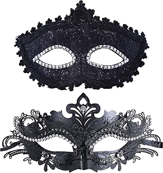 Men /& Women Party Couple Masks Set Feather Masquerade Prom Costume Mask Black