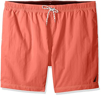44cbc9c200 Nautica Men's Big Solid Quick Dry Classic Logo Swim Trunk, Spiced Coral,  2XLT Tall