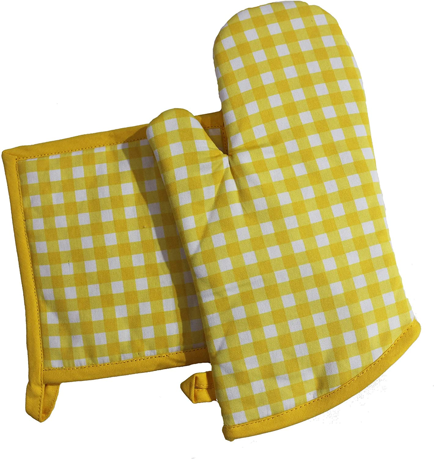 """Cotton Candy Yellow Oven Mitten and Pot Holder Set.100% Cotton. One Pot Holder - 8""""x8"""" and One Oven Mitts - 7""""x13"""", Comfortable, Machine Washable, Heat Resistant."""