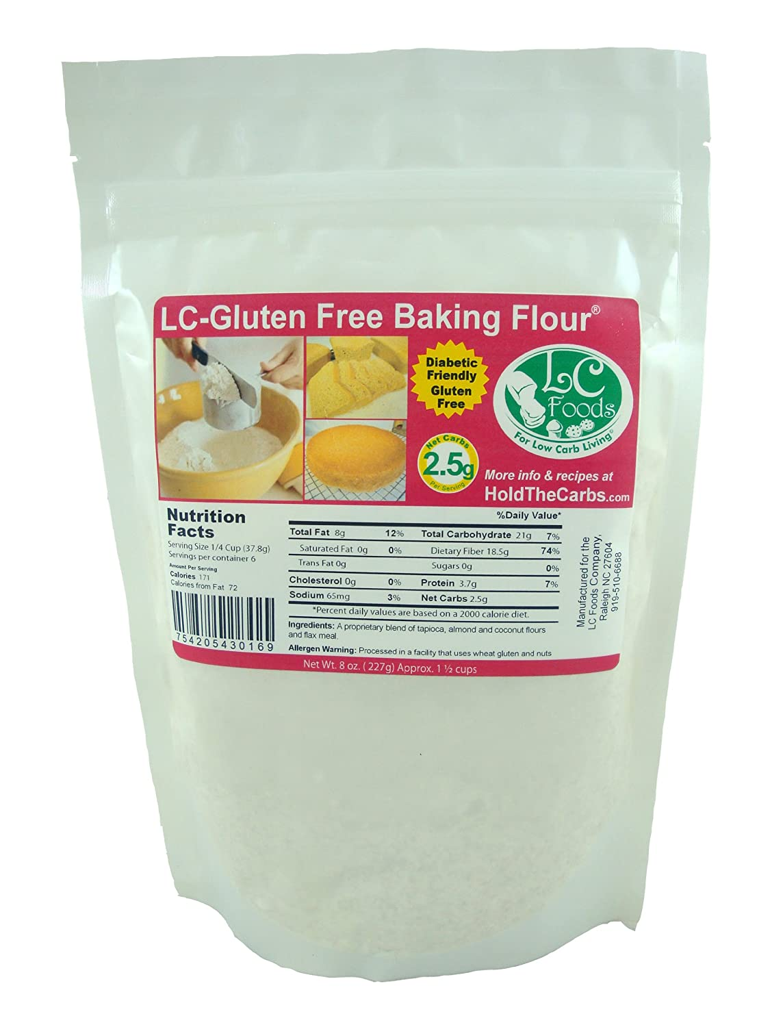Amazon Com Low Carb Gluten Free Baking Flour 2 Lbs Lc Foods All Natural Paleo No Sugar Diabetic Friendly Grocery Gourmet Food