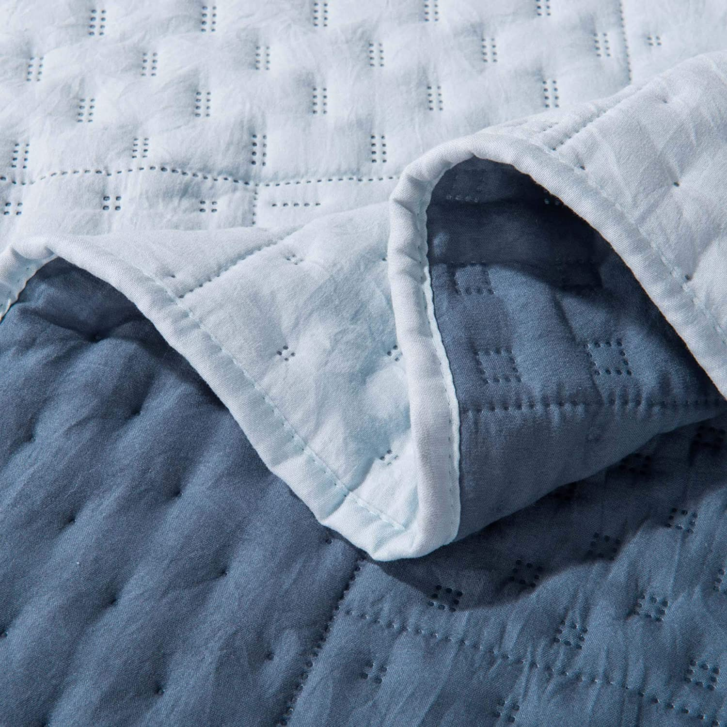 Fairest Gray//Sky Blue, Twin Set DOMDEC Super Soft Quilt Set 3 Piece Stone Washed Quilted Coverlet Set Light Weight Comforter Set Hypoallergenic Machine Washable