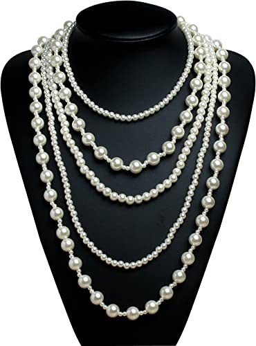 BABEYOND Collana Perle Charleston Accessori Charleston Collana Perle Anni 20 Collana Donna Gatsby Collana di Perle Sposa Collana Perle Donna Bianco