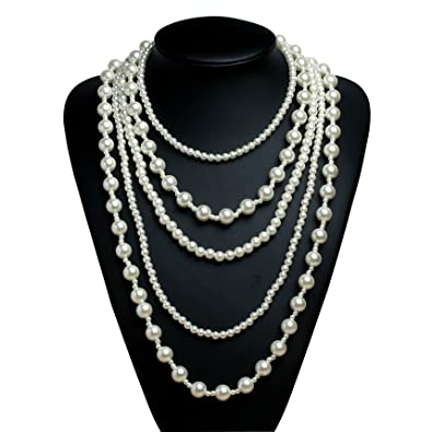 BABEYOND 1920s Flapper Necklace Faux Pearls Necklace Gatsby Costume 20s Flapper Accesories 7c5Iwlzl  sc 1 st  Bella Pearls Womenu0027s White Freshwater Pearl Drop Sterling Silver ... & BABEYOND 1920s Flapper Necklace Faux Pearls Necklace Gatsby Costume ...