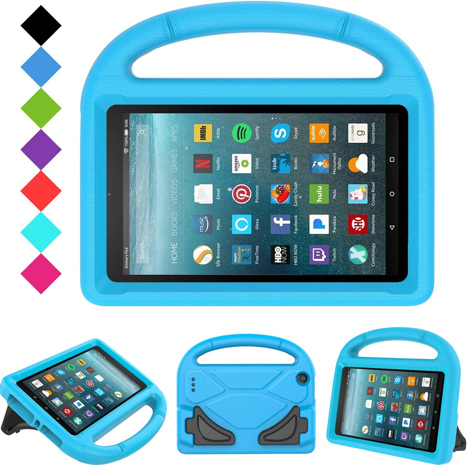 Amazon Com Kids Case For All New Fire 7 2019 2017 Tirin Light Weight Shock Proof Handle Kid Proof Cover Kids Case For Amazon Fire 7 Tablet 9th 7th 5th Generation 2019 2017 2015 Release 7 Display
