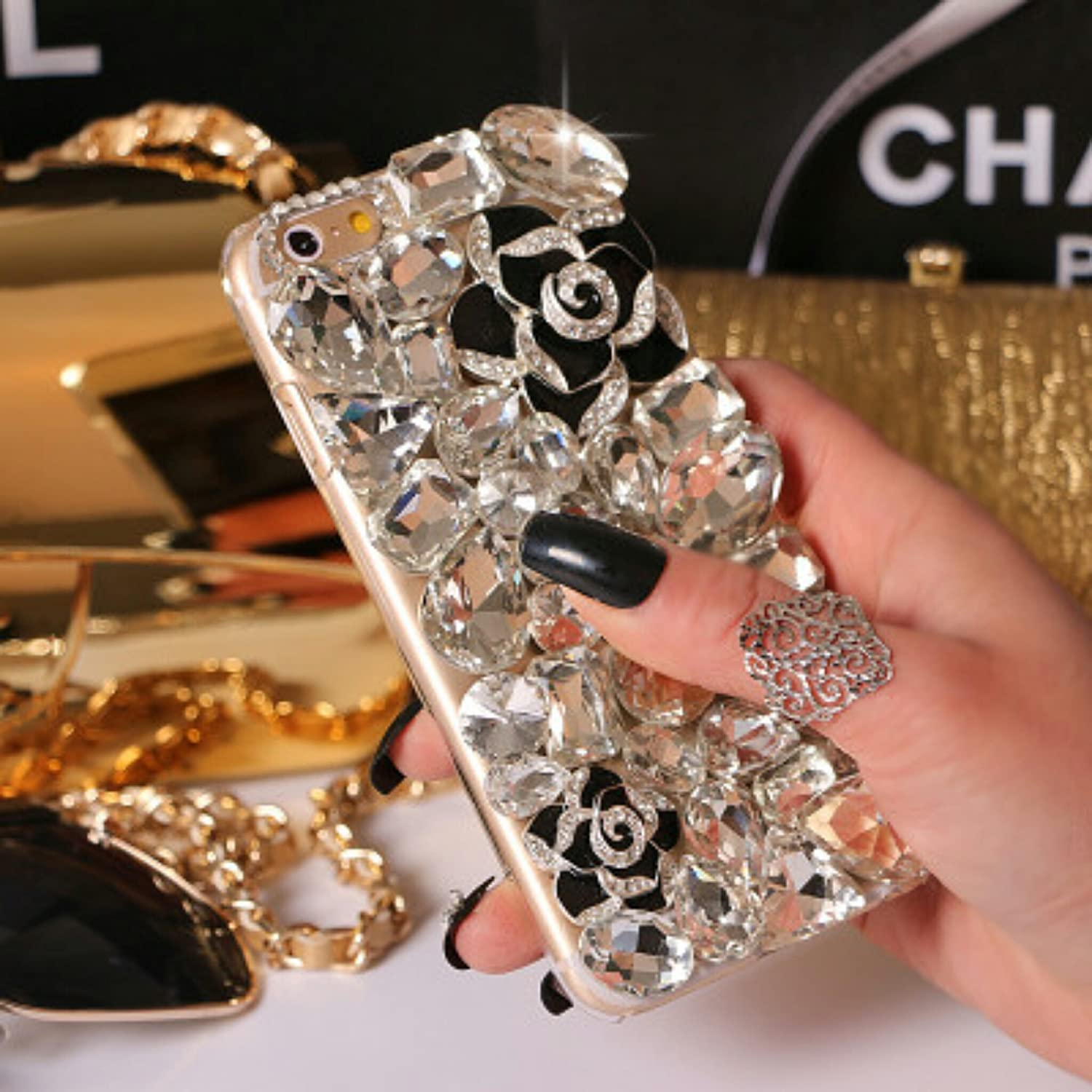 Crystal_phonecase Luxury 3D Bling Handmade Jewelled Pearl Crystals Diamond Clear Case Cover for Samsung Galaxy S4 S5 S6 S6Edge S7 S7Edge S8 S8Plus (Black Flower & Crystal, Samsung Galaxy S8)