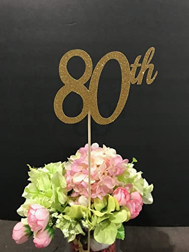 80th Birthday Decorations Centerpiece Sticks Glitter 80 Table